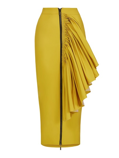 Bodycon Zipper Pleated Patchwork Women's Skirt