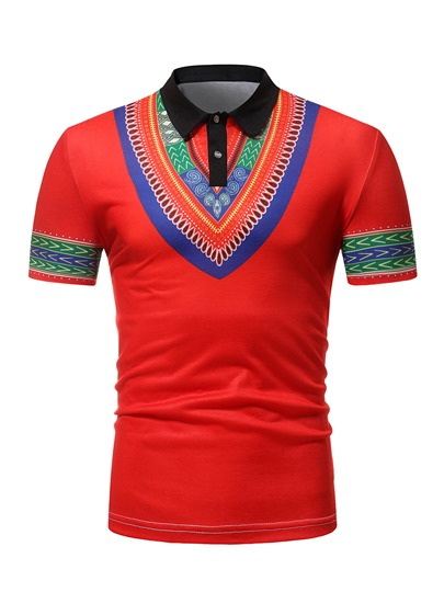 Lapel Dashiki Plain Men's Polo