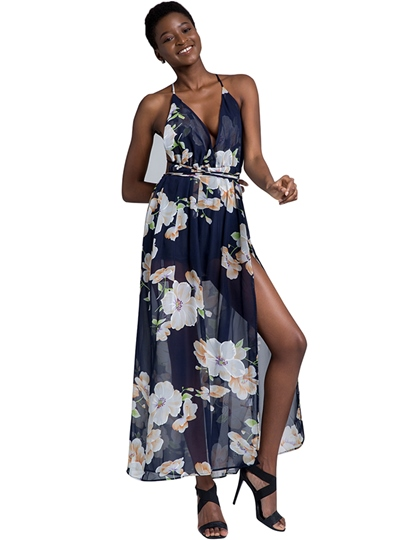 Floral Backless Sexy V Neck Women's Maxi Dress