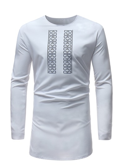 African Print Slim Plain Men's T-Shirt
