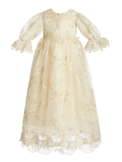 Stunning Lace Tulle Baptism Christening Gown for Girls