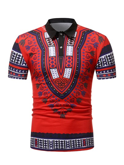 Dashiki African Print Slim Men's Polo