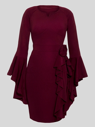Fuchsia Bell Sleeve Falbala Women's Bodycon Dress