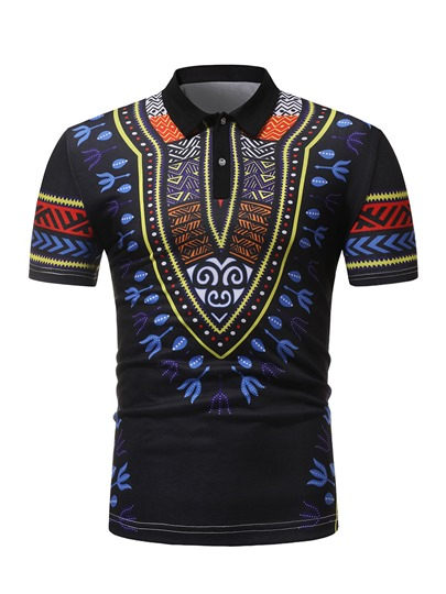 Black Dashiki Lapel Slim Men's Polo