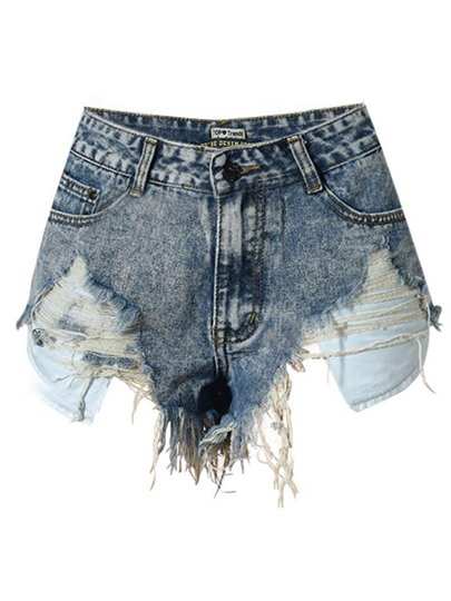 Asymmetric Hole High Waist Women's Denim Shorts