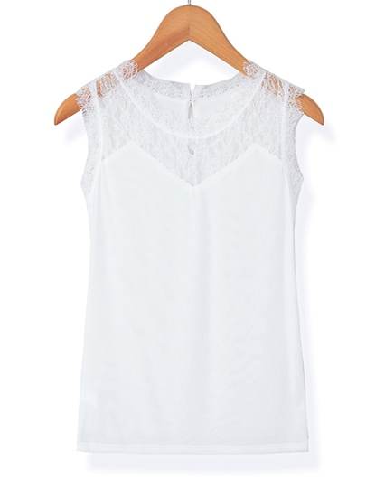 Lace Pure Color Tank Top For Women