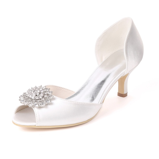 Peep Toe Stiletto Heel Rhinestone Slip-On Low-Cut Upper Wedding Shoes