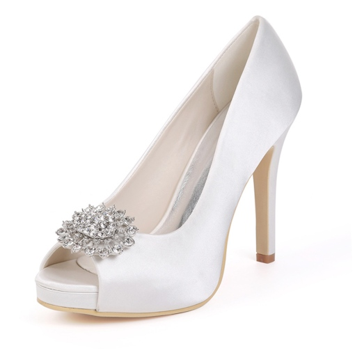 Peep Toe Slip-On Rhinestone Stiletto Heel Low-Cut Upper Thin Shoes