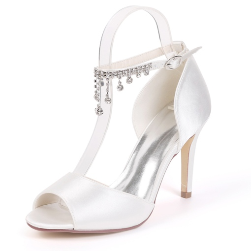 Line-Style Buckle Rhinestone Peep Toe Stiletto Heel Wedding Shoes
