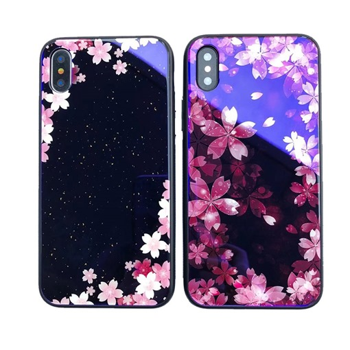 Cherry Blossom Blu-ray Glass Shell Trendy for Iphone X/8plus