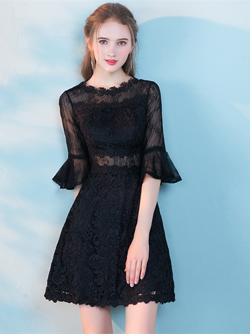A-Line Lace Half Sleeves Cocktail Dress