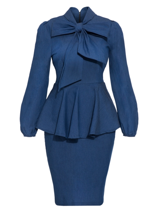 Denim Blue Tie Neck Women's Bodycon Dress