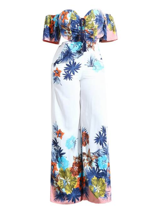 Floral Print Off Shoulder Slim Women's Jumpsuit