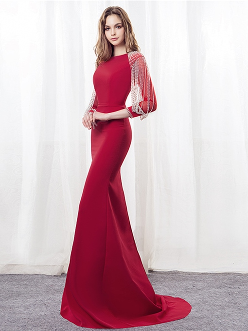 Mermaid Beading Mermaid Bateau Evening Dress