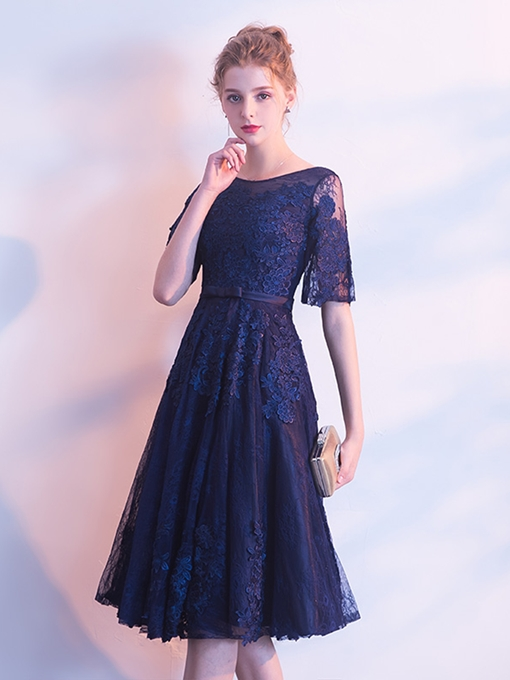 A-Line Scoop Lace Appliques Cocktail Dress