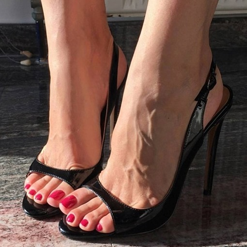 Plain Slingback strap Buckle Heel Sandals