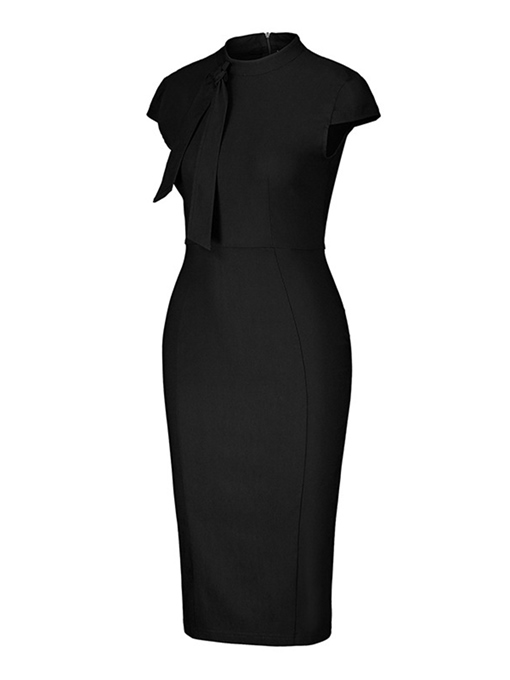 Tie Neck Solid Pencil Sheath Dress