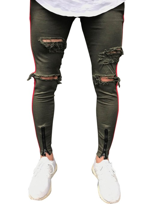 Solid Color Hole Close-fitting Men's Jeans
