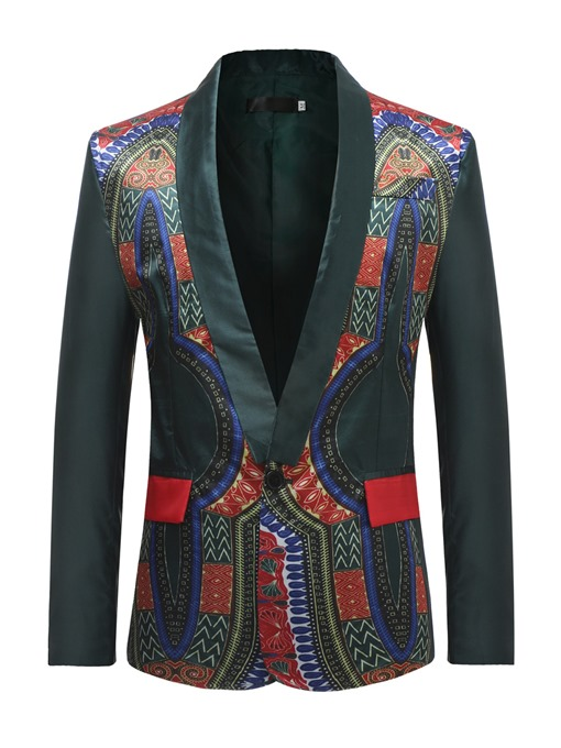 African Print Slim One Button Men's Blazer