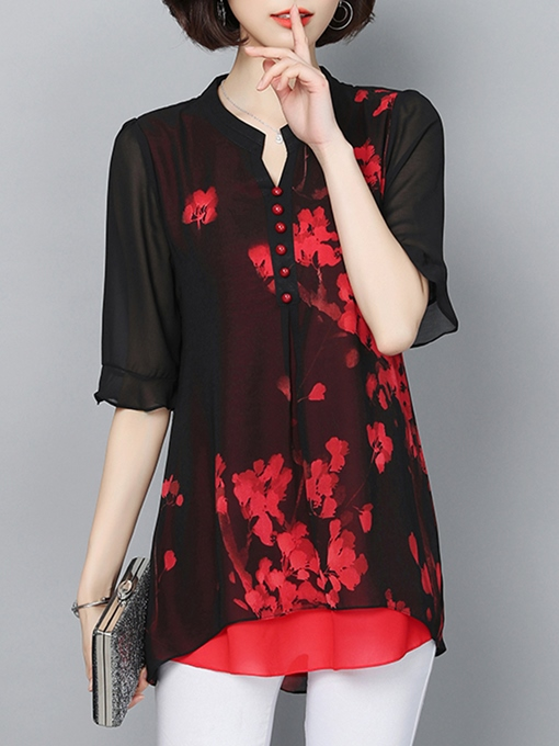 Sheer Mid Length Floral Print Women's Blouse