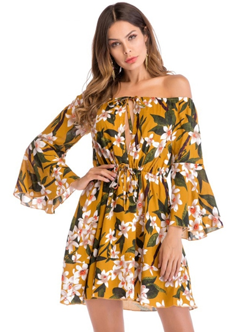 Off The Shoulder Flare Sleeve Print Women's Day Dress