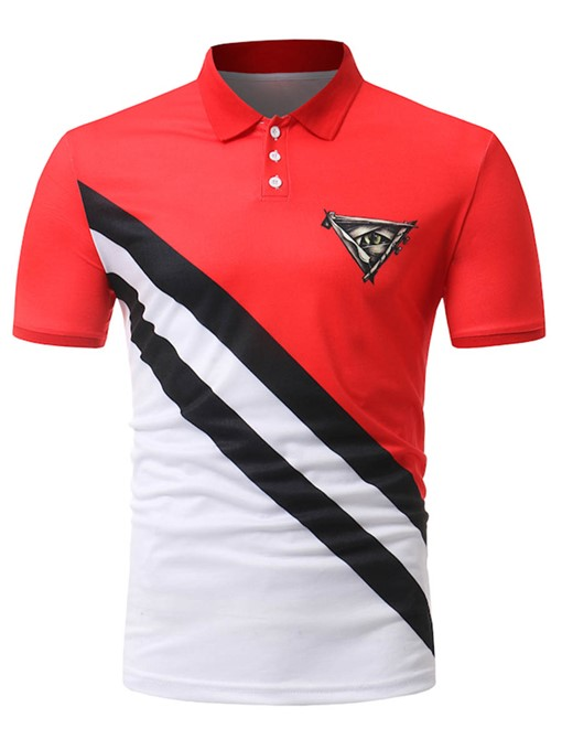 Lapel Patchwork Slim Men's Polo
