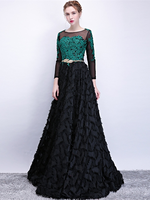A-Line Bateau Lace Appliques Sashes Evening Dress