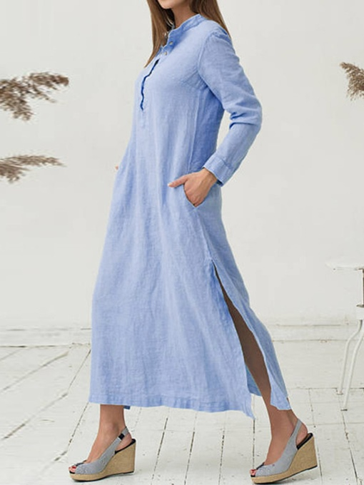 Casual Stand Collar Button Maxi Dress