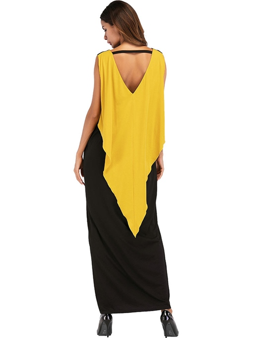 Summer Color Block Backless Maxi Dress