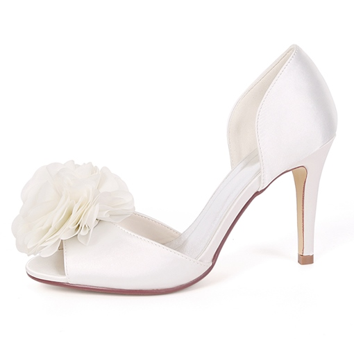 Slip-On Stiletto Heel Peep Toe Appliques Wedding Shoes
