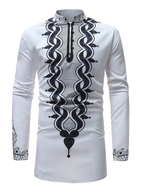 Stand Collar Dashiki Style Slim Men's Shirt