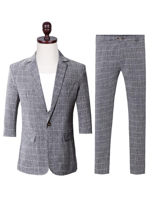 Plaid One Button Slim Leisure Men's Dress Suit
