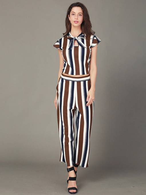 Stripe Tops and Ankle Length Pants Women's Two Piece Set