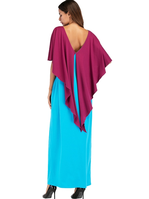 Color Block Batwing Sleeve Casual Maxi Dress