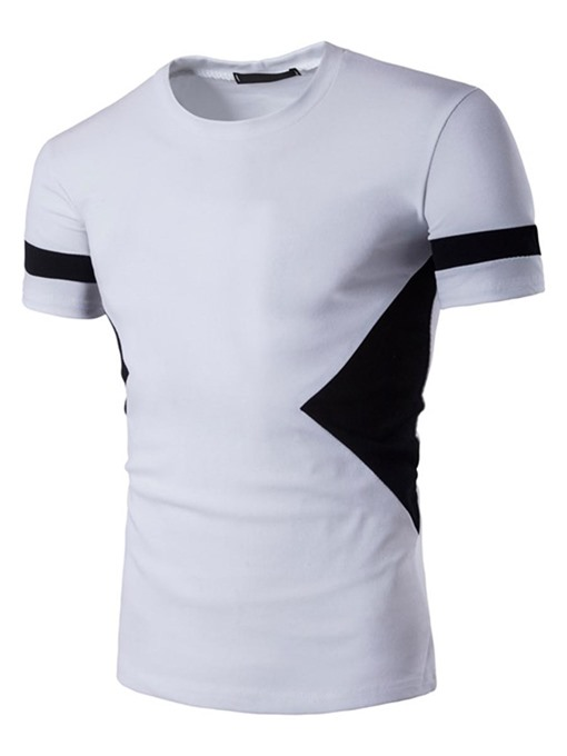 Black White Slim Plain Men's T-Shirt