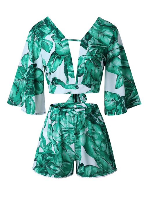 Floral Print V Neck Top with Shorts Women's Two Piece Set