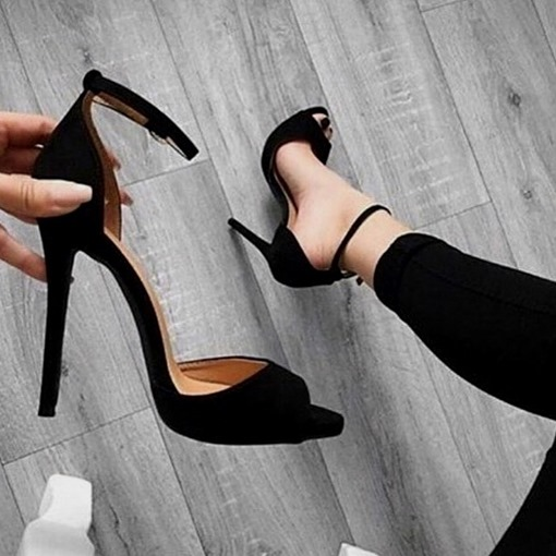 Plain Peep Toe Stiletto Heel Pumps
