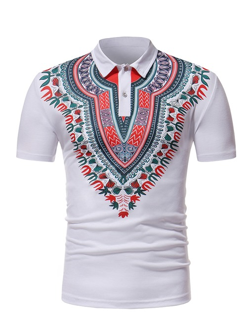 Lapel Dashiki Print Slim Men's Polo