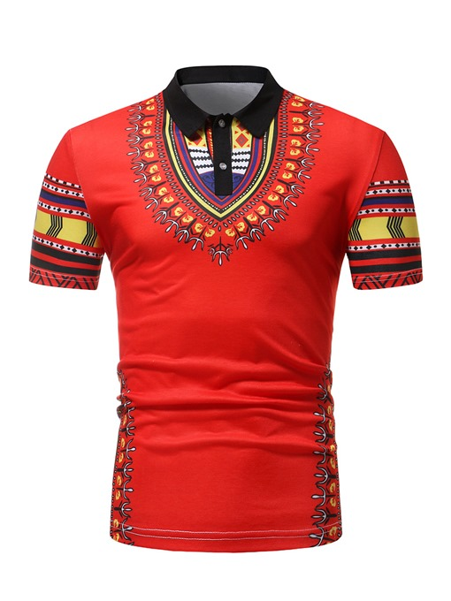 Dashiki Print Slim Fit Men's Polo