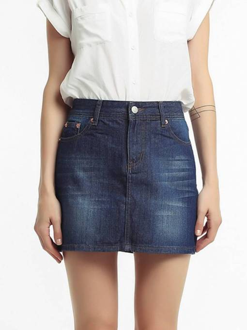 Denim Bodycon Pocket Women's Skirt