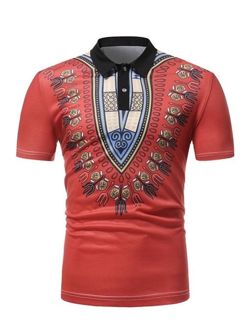 Dashiki Lapel Slim Men's Polo
