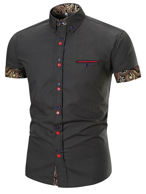Button Decorated Slim Fit Men's Shirt