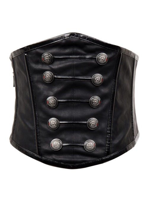Plain Zipper Lace-Up Button Corset