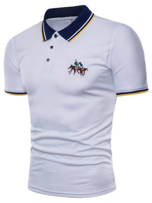 Lapel Badge Plain Slim Men's Polo