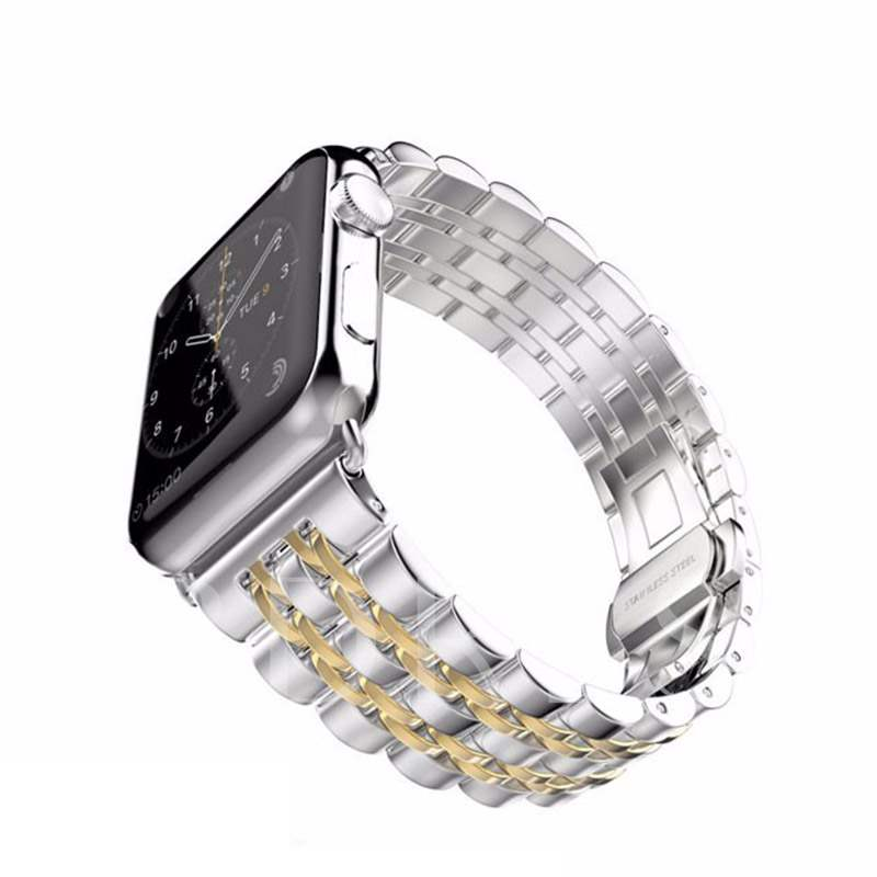 Apple Smart Watch Seven Bead Stainless Steel Strap