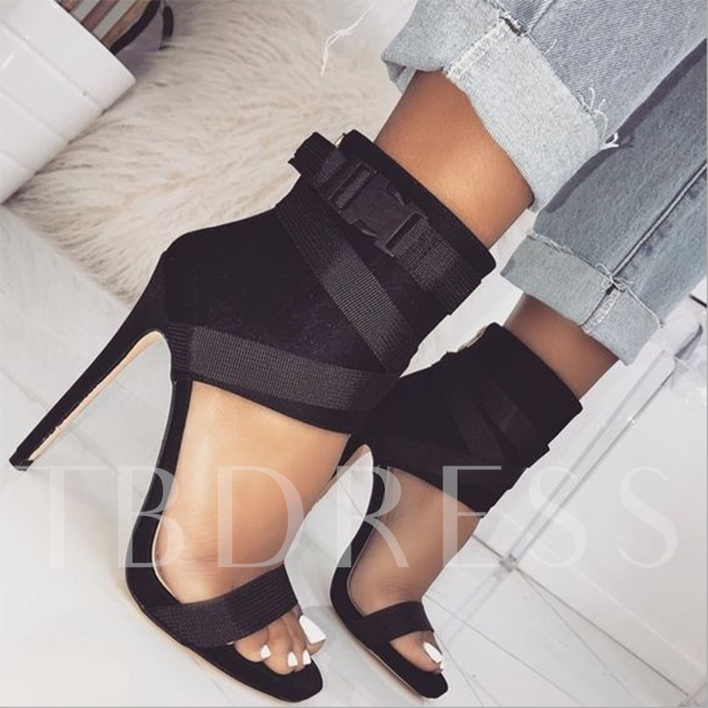 High-Cut Upper Open Toe Heel Sandals