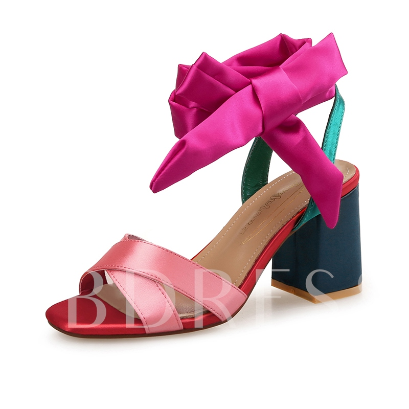 Silk Fabric Ankle Strap Shoes Chunky Heel Sandals for Women