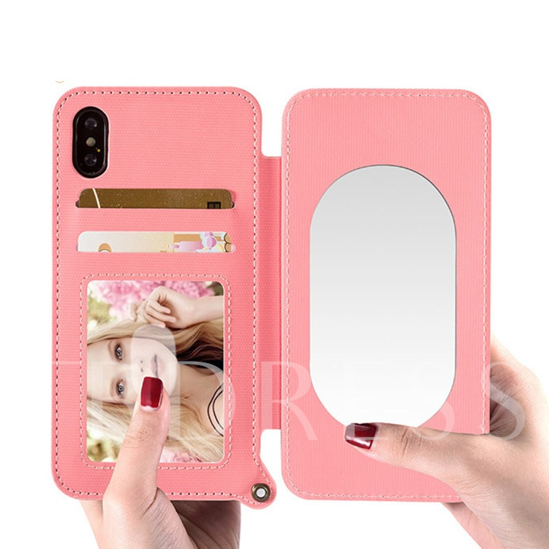 Makeup Mirror Mobile Phone Shell iPhoneX/6/7/8/ Flip Cover Novelty Cover