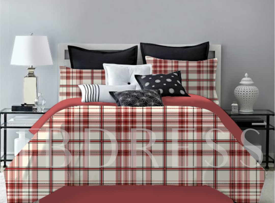 Red Plaid Pattern Polyester 4-Piece Bedding Sets/Duvet Cover