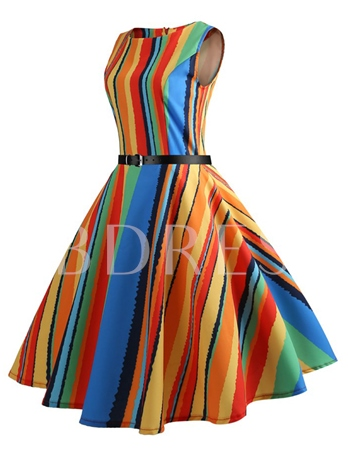 Stripe Colorful Round Neck A-Line Women's Day Dress